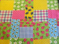 Patchwork Ladybird Print 100% Cotton Fabric